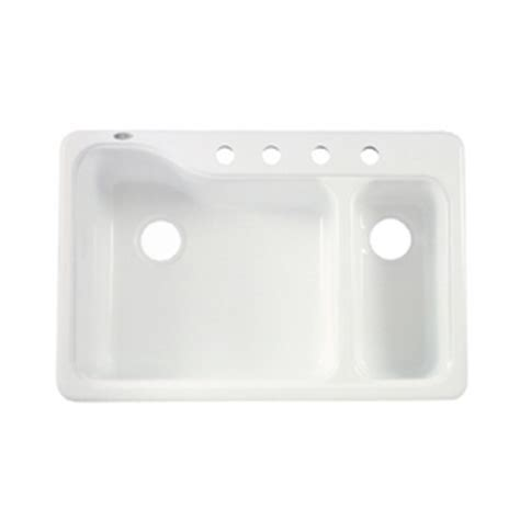 shop american standard white heat  hole double basin