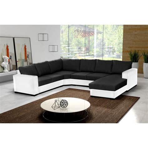canaper noir et blanc canapé d 39 angle 6 places oara en u noir et blanc tissu et