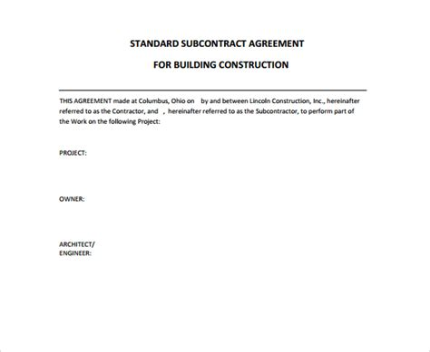 Standard Building Contract Template by 9 Construction Contract Templates Pdf Word Pages