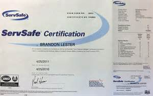 ServSafe Certification Certificate