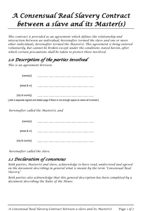 masters slave consensual real slavery contract template