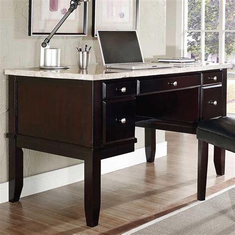 monarch white marble top writing desk  steve silver
