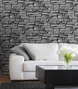 Brique De Parement Blanche : un mur en pierre de parement grise dans le salon l gant derri re le canap blanc mur parement ~ Nature-et-papiers.com Idées de Décoration