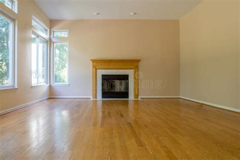 Empty Room with Fireplace stock image. Image of hardwood