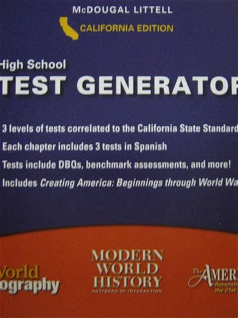 High School Social Studies Test Generator (ca)(cd