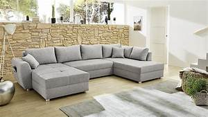Wohnlandschaft STARNBERG U Form Sofa Grau Bettfunktion