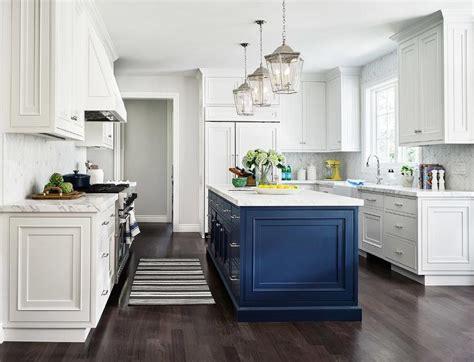 navy blue kitchen island  white kitchen transitional