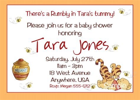 winnie the pooh baby shower invitations printable photo card