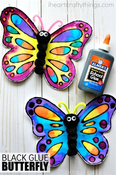 beautiful watercolor and black glue butterfly craft 685 | b61a33980f03fad938e51c1477ee43aa