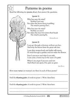 3rd grade reading worksheets poems identifying patterns