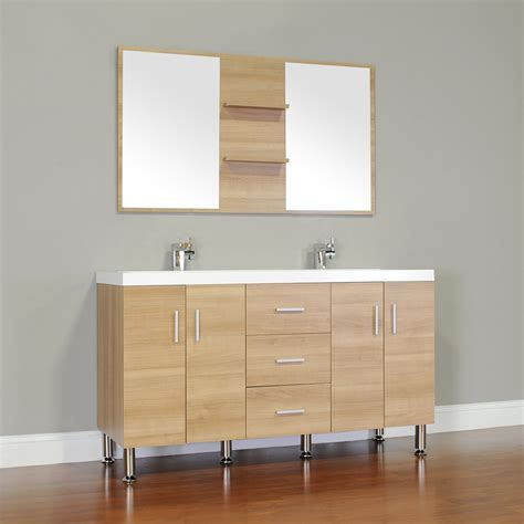 "ALYA AT 8043 LO 56""Double Modern Bathroom Vanity   Light Oak"
