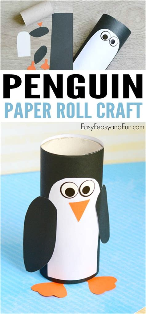 paper roll penguin craft winter crafts for easy 677   Toilet Paper Roll Penguin Craft