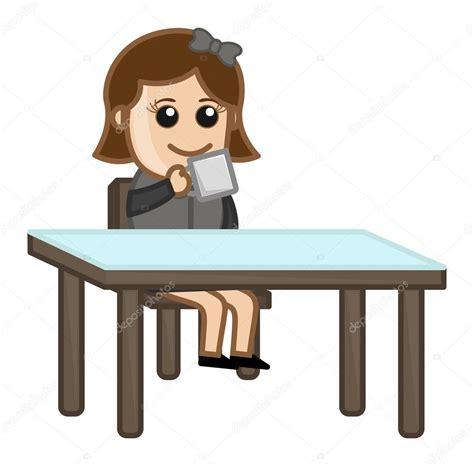 Chica tomando café personaje de dibujos animados