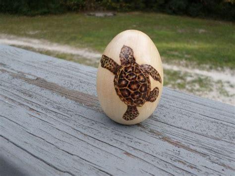 baby sea turtle woodburning  wooden egg