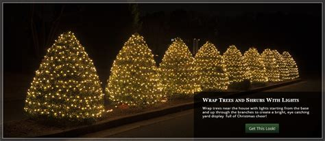evergreen tree light wrap outdoor yard decorating ideas