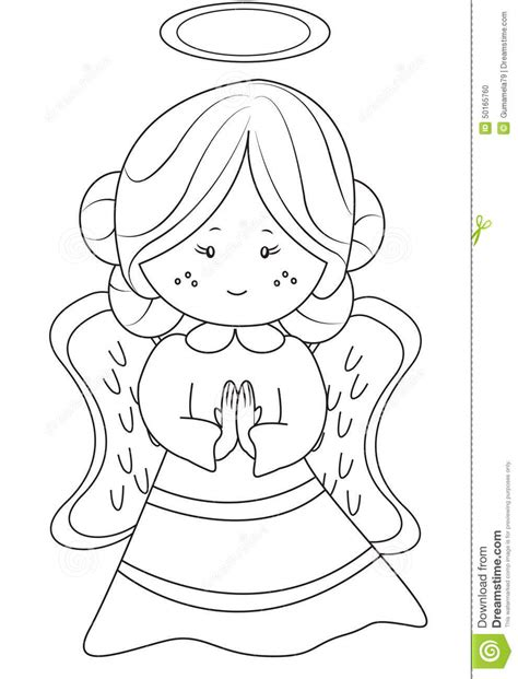 angel coloring page stock illustration image
