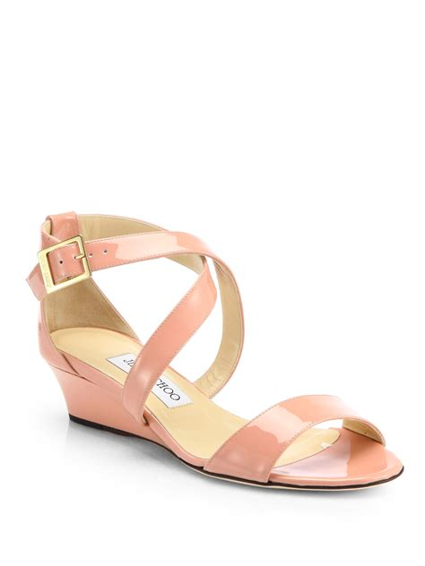 blush colored sandals lyst jimmy choo chiara patent leather wedge sandals in pink