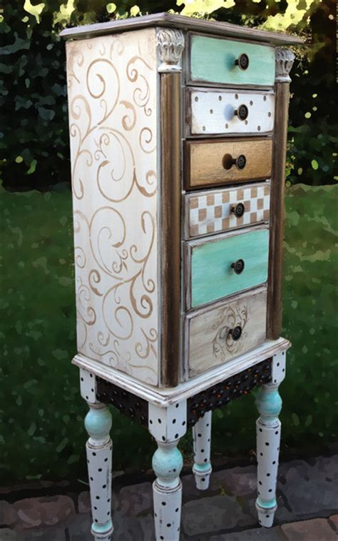 Jewelry Armoire Painted Scrolls  Jewelry Armoires San