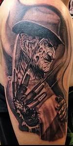 Amazing Grey Freddy Glove Tattoo On Thigh