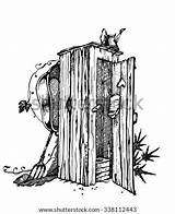 Coloring Outhouse Template sketch template