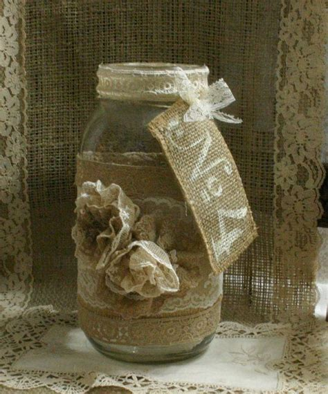 shabby chic fall wedding burlap wedding flower vase vintage lace candle holder fall wedding rustic shabby chic
