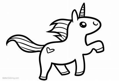 Unicorn Coloring Pages Easy Drawing Simple Clipart