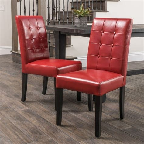 shop roland red bonded leather dining chairs