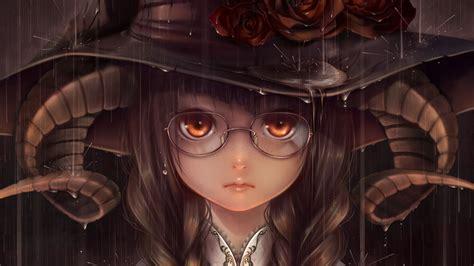 Horns Glasses Anime Girls Rain Wallpapers Hd Desktop