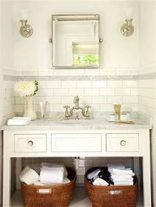 Subway tile backsplash cottage bathroom bhg for White subway tile backsplash bathroom