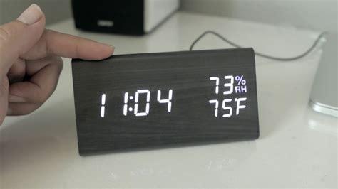 modern digital led wooden alarm clock review setup