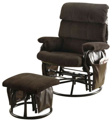 recliner swivel rocker chocolate corduroy with ottoman
