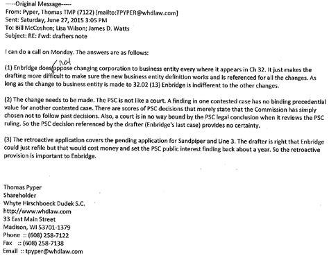 wisconsin legislative reference bureau emails enbridge attorney lobbyist wrote provisions into wisconsin budget for quot keystone xl