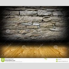 Interior Room Backdrop With Wood And Stone Stock Photo