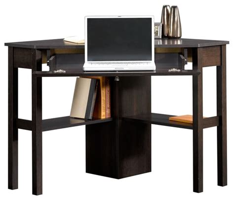 sauder beginnings corner computer desk cnc in cinnamon
