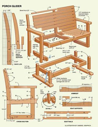 porch glider plans  wood plans   woodworking