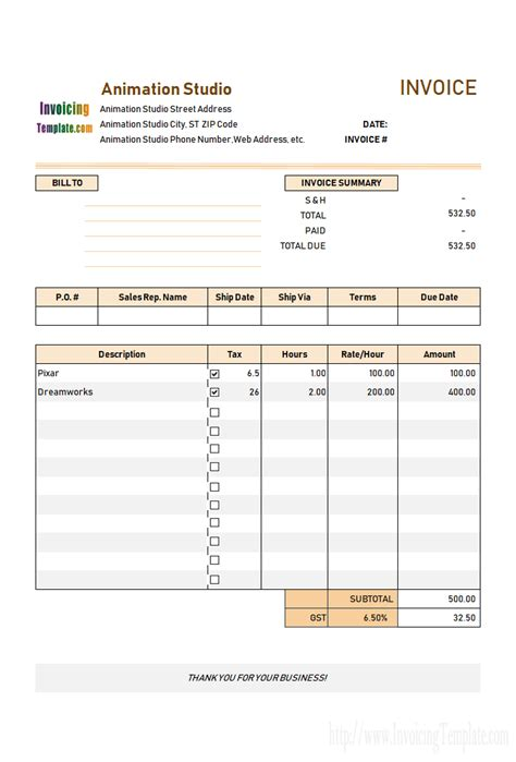 Creating An Invoice Template by Free Invoice Template For Hours Worked 20 Results Found