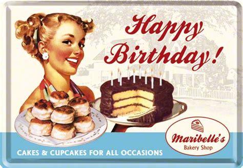 Postcards Retro  Happy Birthday Maribelles Bakery Shop