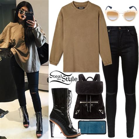 Kylie Jenner: Khaki Sweatshirt, Ripped Jeans | Steal Her Style