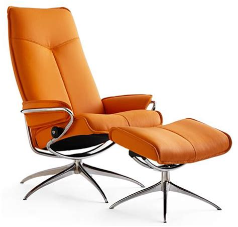 ekornes stressless city high back leather recliner and