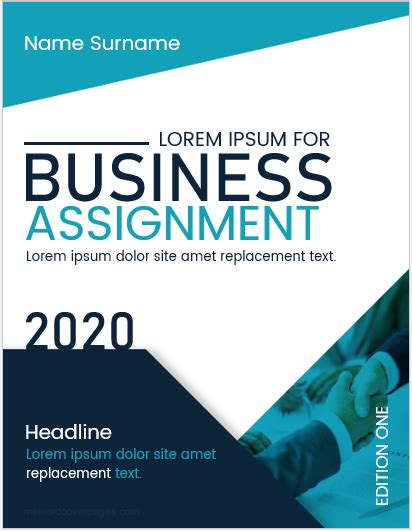 business assignment cover page templates ms word cover