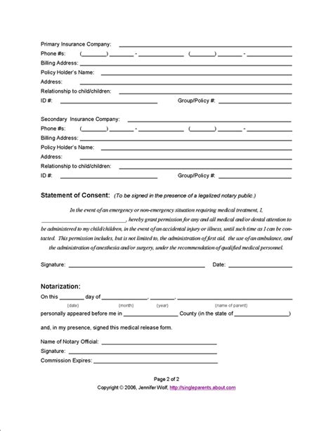 free printable medical consent form for grandparents 6 best images of printable medical release form free