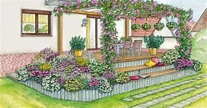 Gartengestaltung Böschung Gestalten : gestaltungsvorschl ge f r eine erh hte terrasse mein sch ner garten ~ Markanthonyermac.com Haus und Dekorationen