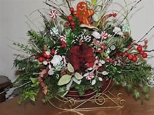 Christmas Sleigh Floral Table Arrangement ~ Home