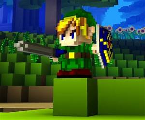 Link With Master Sword And Shield Cube World Skin Cube