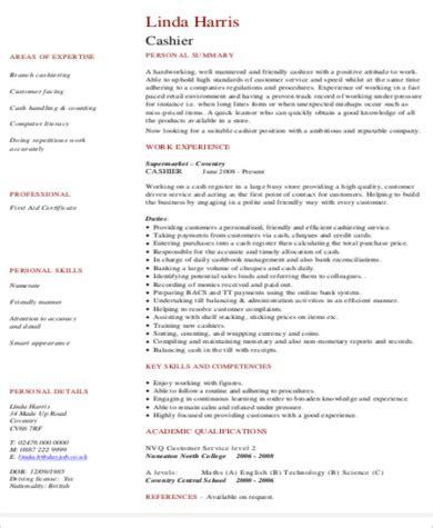 Cashier Resume Skills by Cashier Resume Sle 8 Exles In Word Pdf