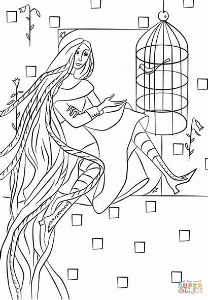 Coloring Rapunzel Pages Tower Paper Printable Drawing