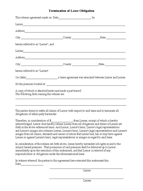 termination of assignment of leases and rents form lease termination form 4 free templates in pdf word