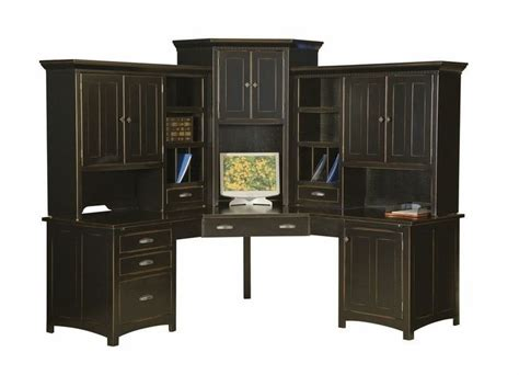 black home office desk with hutch large amish corner computer center desk hutch home office