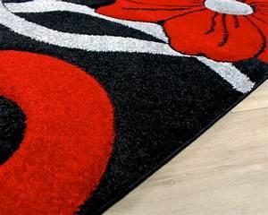 noir gris et cercle rouge fleurs motif style moderne tapis With tapis gris grande taille