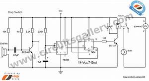 clap switch circuit using ne555 timer ic circuits gallery With the circuit is the trigger that switches the right part of the circuit